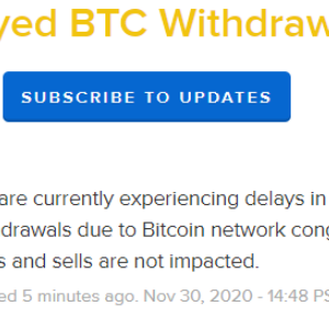 Coinbase Reports Delays in Processing Bitcoin Withdrawals Due to Network Congestion