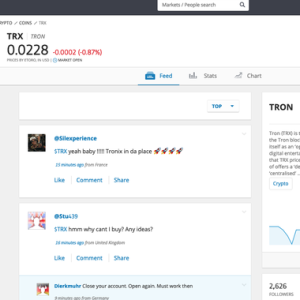 TRON (TRX) Becomes Available for Trading to eToro's 10 Million Users