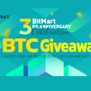 BitMart Celebrating 3rd Anniversary with Crypto Promotion Events: 5 BTC Giveaway