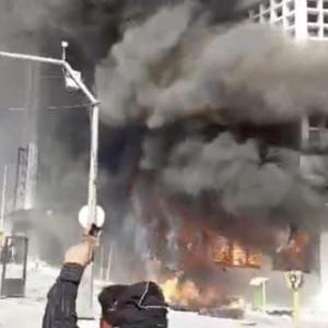 Iranians Burn Bank